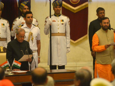 Union Minister Prakash Javadekar taking oath as Cabinet Minister. PIB/Twitter