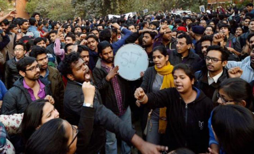File image of JNU students protesting on campus earlier this year. PTI