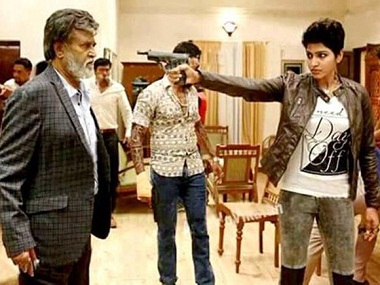 Rajinikanth with Dhansika in a still from 'Kabali'