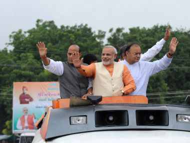 PM Narendra Modi flanked by Home Minister Rajnath Singh and Finance Minister Arun Jaitley. AFP