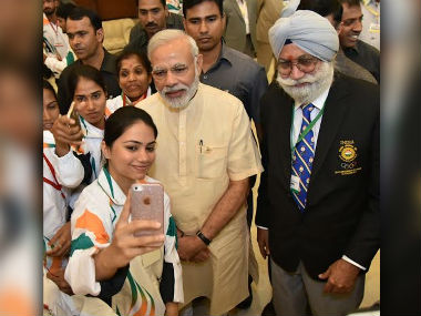 PM Modi attended the send-off ceremony for Rio bound athletes. PIB
