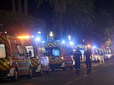 Ambulances line up near the scene of the Nice attack. AP.