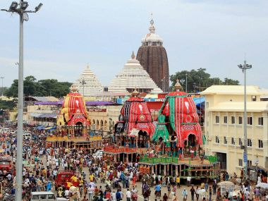 Chariots of Lord Jagannath, Lord Balabhadra and Devi Subhadra at Ratha Yatra festival in Puri on Tuesday. PTI