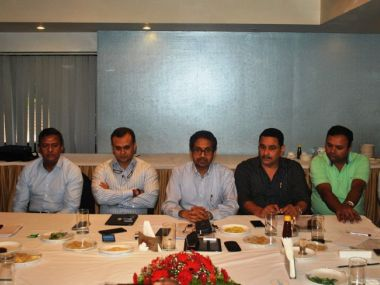 Officials of Salgaocar and Sporting Clube de Goa met AIFF General Secretary Kushal Das in Panaji on Friday. Image COurtesy: Sporting Clube de Goa Twitter