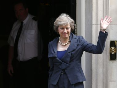 May at 10 Downing Street on Monday. Reuters