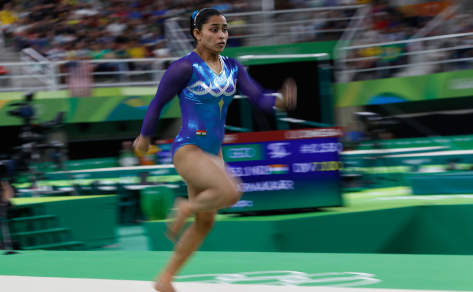 India's Dipa Karmakar competes in the men's floor event final of the Artistic Gymnastics at the Olympic Arena during the Rio 2016 Olympic Games in Rio de Janeiro on August 14, 2016. Thomas COEX / AFP