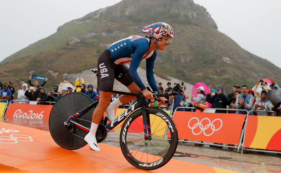 Cyclist Kristin Armstrong of the United States rides at the start of the women's individual time trial event at the 2016 Summer Olympics in Pontal beach, Rio de Janeiro, Brazil, Wednesday, Aug. 10, 2016. AP