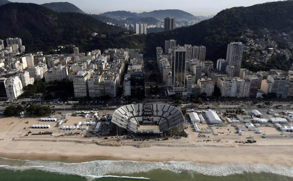 An aerial view of the 2016 Rio Olympics beach volleyball venue on Copacabana beach in Rio de Janeiro, Brazil, July 16, 2016. REUTERS/Ricardo Moraes