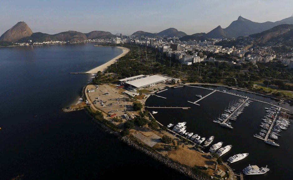 An aerial view shows the Marina da Gloria, which will host the sailing at the 2016 Rio Olympics, in Rio de Janeiro, Brazil, April 25, 2016. REUTERS/Ricardo Moraes