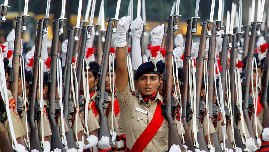 Policewomen march during the full-dress rehearsal ahead of India's Independence Day celebrations in Chandigarh, India, August 13, 2016. REUTERS/Ajay Verma TPX IMAGES OF THE DAY - RTX2KH31