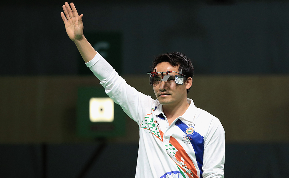 RIO DE JANEIRO, BRAZIL - AUGUST 06: Jitu Rai of India gestures during the 10m Air Pistol Men's Finals on Day 1 of the Rio 2016 Olympic Games at the Olympic Shooting Centre on August 6, 2016 in Rio de Janeiro, Brazil. (Photo by Sam Greenwood/Getty Images)
