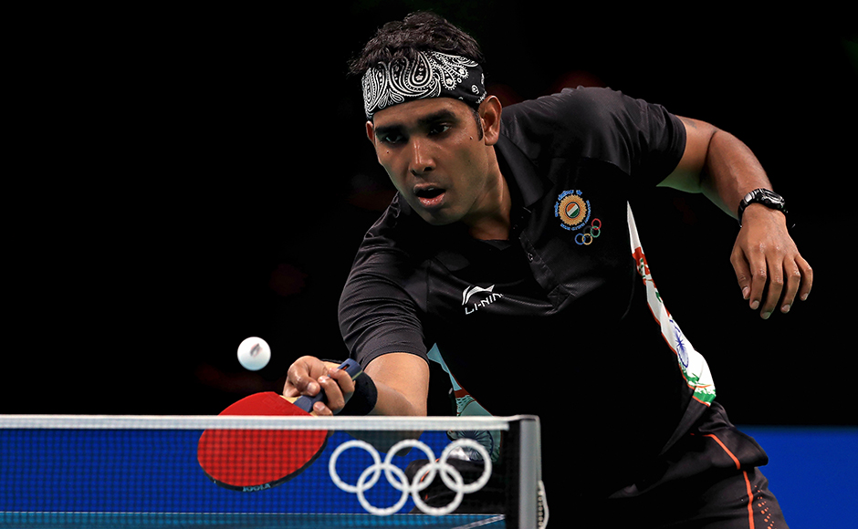 Sharath Kamal of India, competing in his third Olympic event, fought hard but went down to Romanian Adrian Crisan. Getty Images