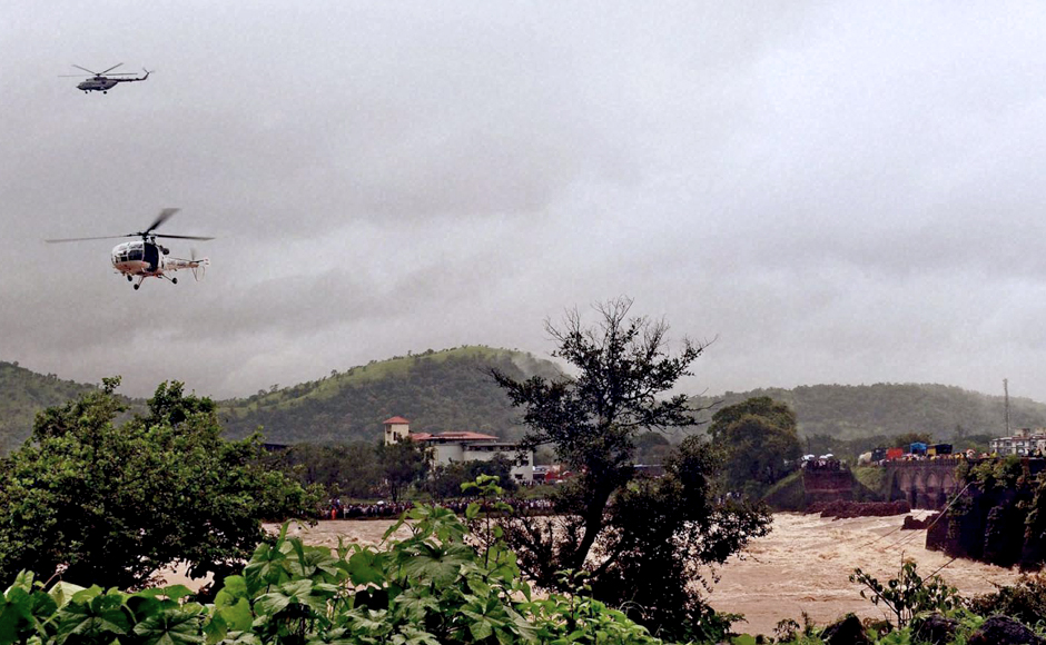 Chetak helicopters were deployed at around 8 am on Wednesday to carry out search operations to look for those who were swept away after the Mahad-Poladpur bridge was washed away in flood water of Savitri river on the Mumbai-Goa highway in Raigad district. PTI