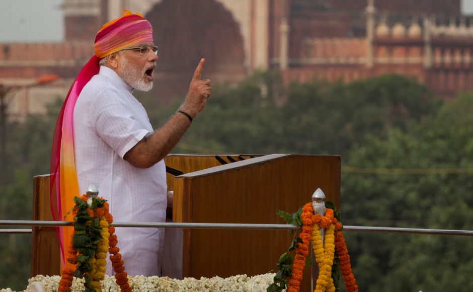 Indian Prime Minister Narendra Modi addresses the nation from the ramparts of the historical Red Fort on the Independence Day in New Delhi, India, Monday, Aug. 15, 2016. India commemorated its Independence in 1947 from British colonial rule on Aug. 15. In the background India's biggest Jama Maszid or Mosque is seen. AP