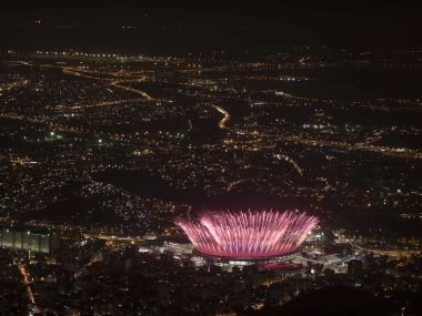 Fireworks explode over Maracana Stadium during the opening ceremony at the 2016 Summer Olympics in Rio de Janeiro. AP