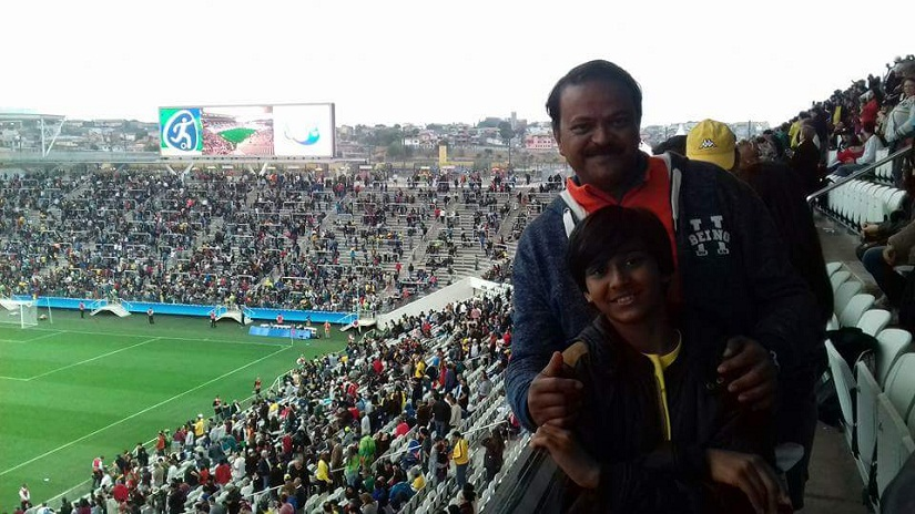 Abhijit Khan and his son at one of the games in Rio 2016 Olympics. Photo courtesy Aravind Krishnan