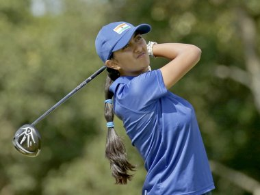 Aditi Ashok of India hits her tee shot on the fifth tee at the Rio Olympics 2016. Reuters