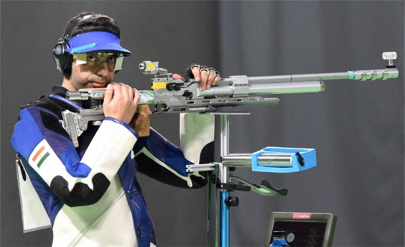 Abhinav Bindra in the Men's 10m Air Rifle Final. PTI