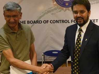 BCCI president Anurag Thakur with BCCI secretary Ajay Shirke. AFP file image