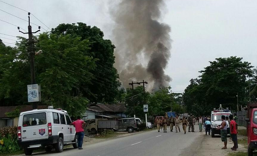 Smoke rises after reported grenade attacks in the Kokhrajar area of Assam. Twitter @ANI_News