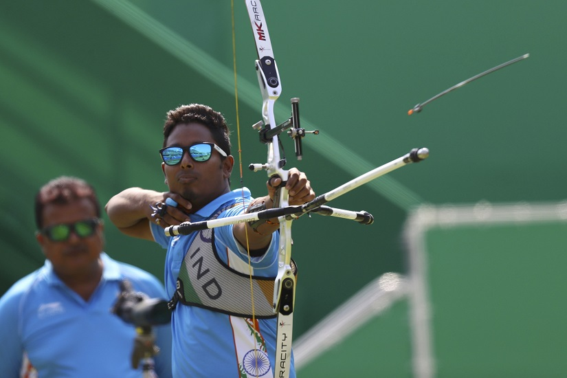 Atanu Das of India competes in the Men's archery Individual 1/16 Eliminations. REUTERS