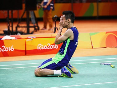 Chong Wei Lee of Malaysia celebrates his win over Dan Lin of China. Getty Images