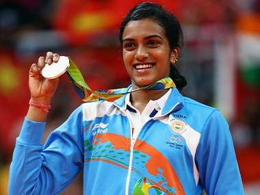 PV Sindhu of India poses with the silver medal in badminton. Getty Images