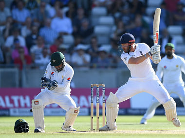 Jonny Bairstow in action against Pakistan on 4th day at Edgbaston. Getty