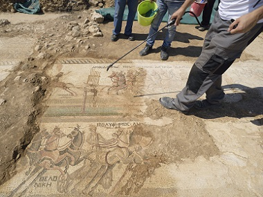 Historic find Archaelogists uncover rare 4thcentury mosaic floor in Cyprus