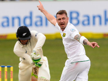 Dale Steyn appeals successfully for leg-before to dismiss Martin Guptill. Getty Images