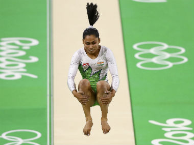 Dipa Karmakar in action in the vault event during the women's qualifiers. Reuters