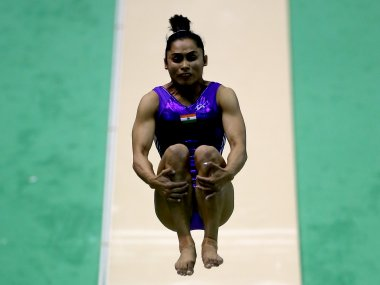 Dipa Karmakar of India competes on the vault during the Finals. Getty
