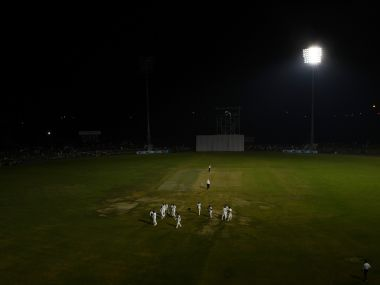 Fllodlight malfunction marred India's pink ball debut. AFP