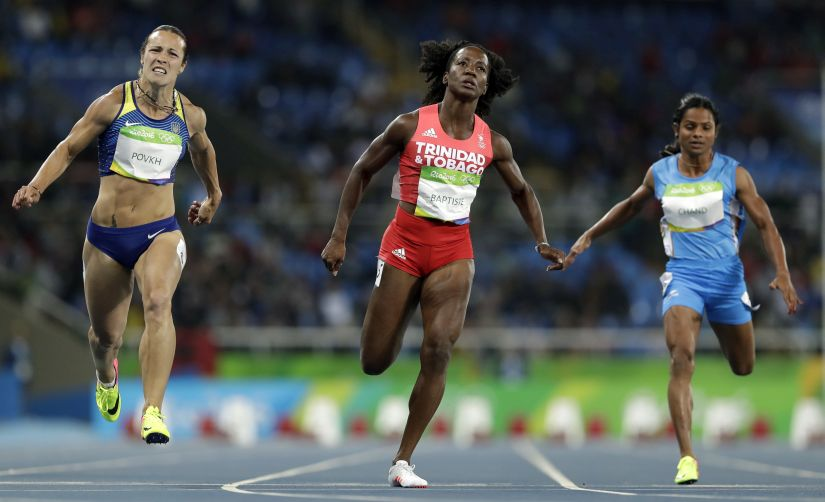 India's Dutee Chand, competes in a women's 100-meter heat. AP