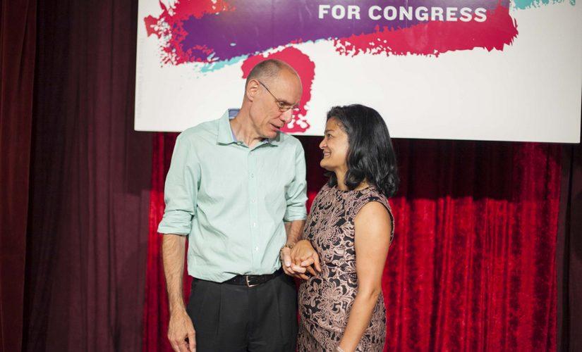 Pramila Jayapal with her husband Steve Williamson. Image Courtesy Jin-Ah Kim