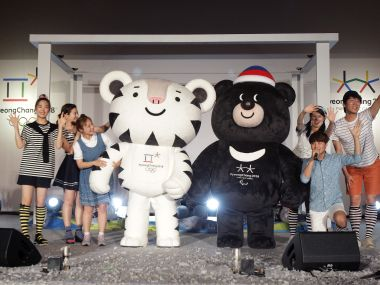 Pyeongchang Anticipates 2018 Winter Olympics mascots Soohorang and Bandabi. Getty
