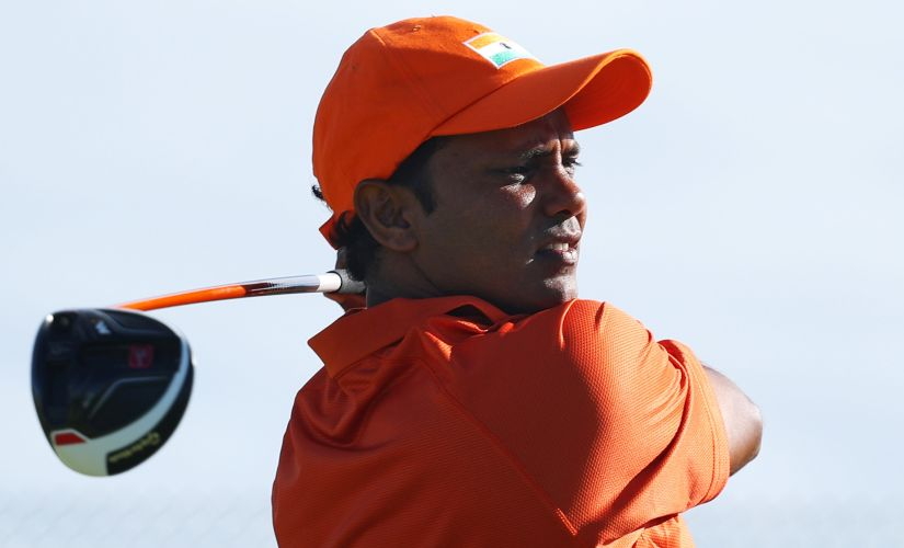 SSP Chawrasia plays his shot from the 16th tee. Getty