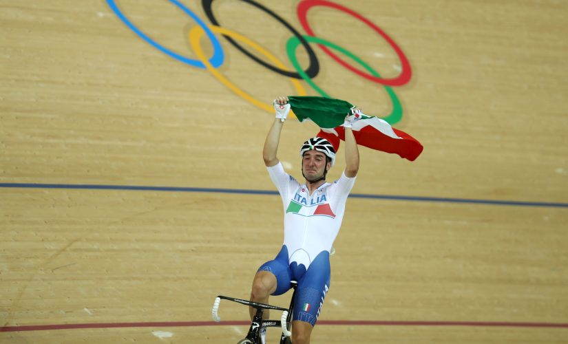 Elia Viviani celebrates after winning the Cycling Track Men's Omnium Points Race 66. Getty