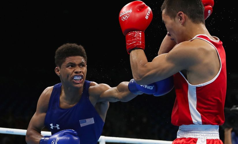 Shakur Stevenson throws a left on Tsendbaatar Erdenebat. Getty