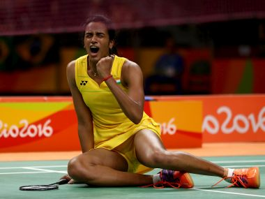 PV Sindhu of India celebrates her win over Yihan Wang of China. Getty