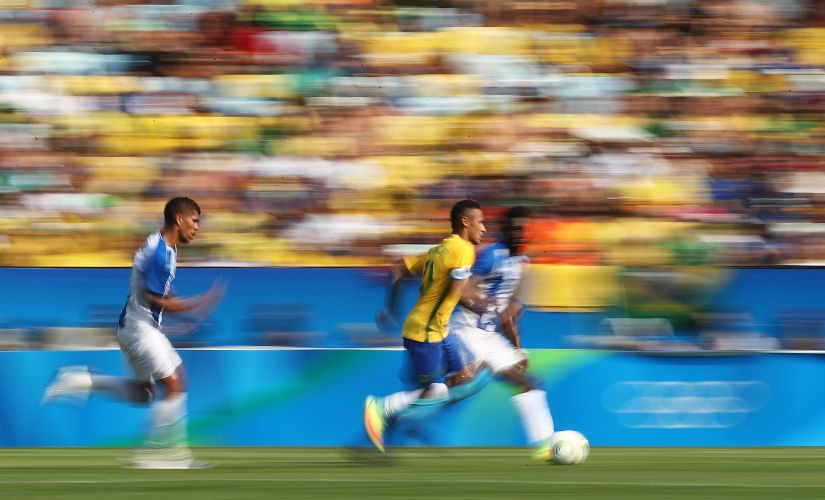 Neymar in action during the Men's Semifinal Football match against Honduras. Getty