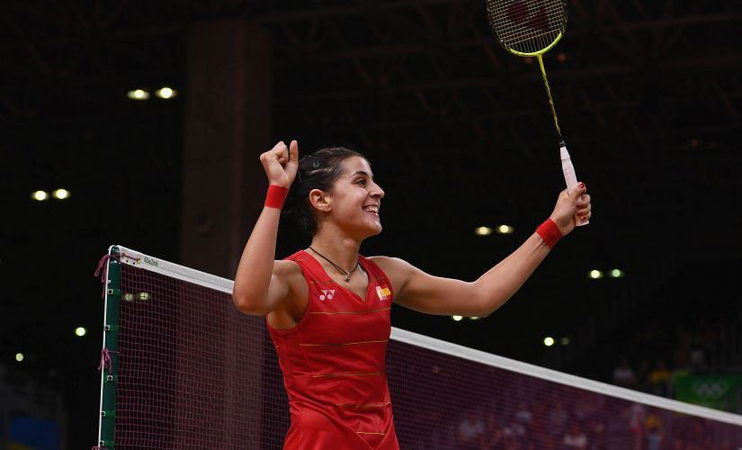 Carolina Marin defeating Xuerui Li during the Women's Badminton Singles Semifinal. Getty