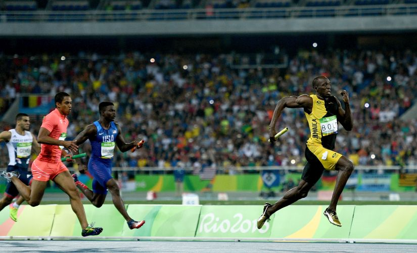 Usain Bolt during the Men's 4 x 100m Relay Final. Getty