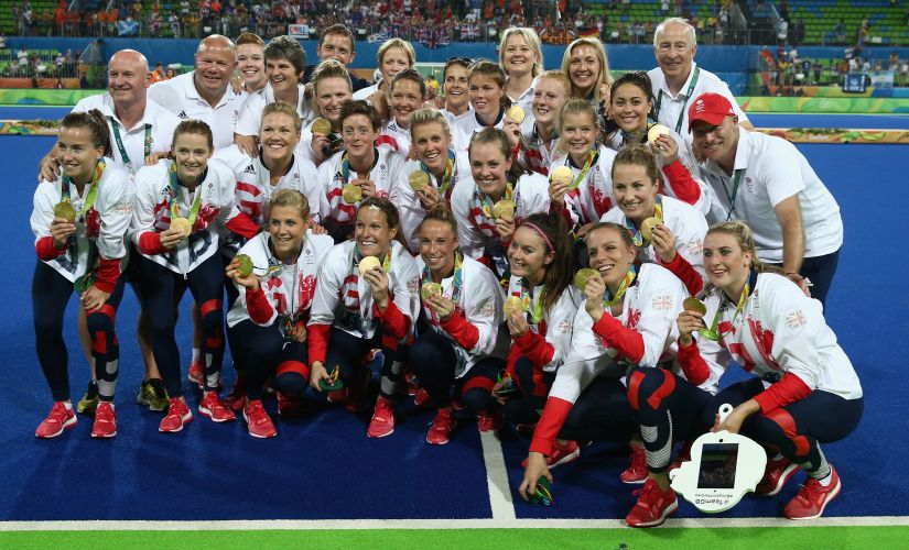 Great Britain celebrate after winning the Gold medal. Getty