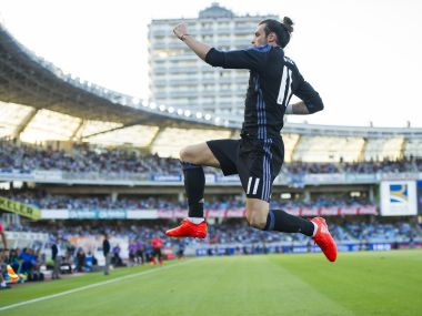Gareth Bale celebrates after scoring against Real Sociedad. Getty