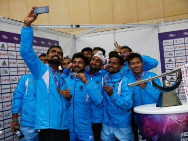 India hockey team taking a selfie. Getty