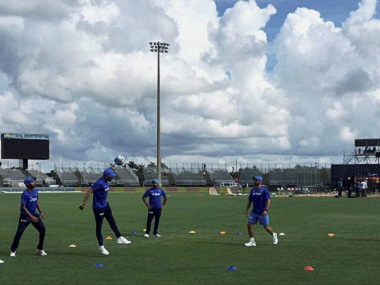 The Indian team warming up ahead of its first T20I at Fort Lauderdale in Florida. PTI