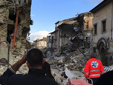 This still image taken from video shows the destruction in Amatrice, central Italy, where a 6.1 earthquake struck just after 3:30 a.m., Wednesday, Aug. 24, 2016. The quake was felt across a broad section of central Italy, including the capital Rome where people in homes in the historic center felt a long swaying followed by aftershocks. (AP Photo)