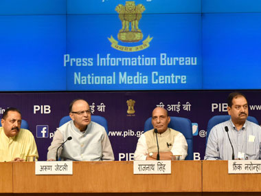 Union Home Minister, Rajnath Singh, Union Finance Minister Arun Jaitley and Minister of State for DoNER and PMO Jitendra Singh at a press conference on All Party meet on Kashmir, in New Delhi on 12 August, 2016. Image courtesy PIB