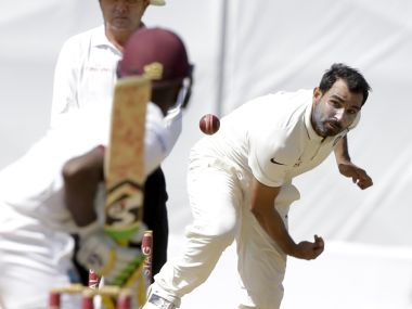 Mohammed Shami bowls to Jermaine Blackwood. AP